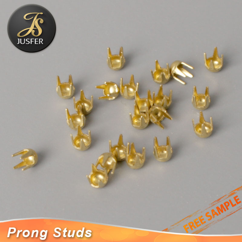 Brass color dome stud with 4 prongs for leather craft/clothing