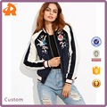 Custom Wholesale Floral Embroidered Zipper Up Girls Bomber Jacket