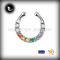 Multi Colored Gem Gay Pride Fake Non Piercing Septum,Fake Septum Clicker Crystal Nose Hoop Ring ,non piercing ring septum