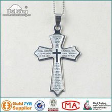 Epoxy Finished Catholic Prayer Bible Metal Cross Pendant Necklace