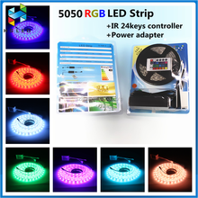 Hot selling smd 5050 RGB led strip kit+5A Power + IR24keys white Shell Controller