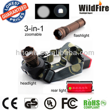 Multifunction CREE Q5 R2 3W 220Lm Rechargeable Zoomable LED headlamp with bicycle rear light and