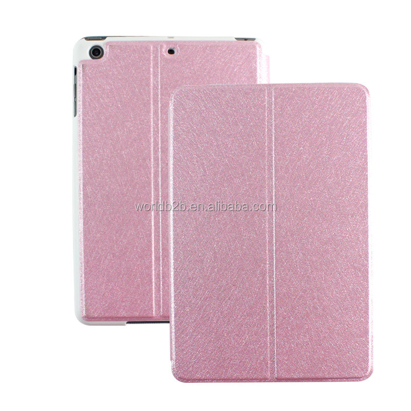 Super welcome silk grain PU leather case for ipad mini