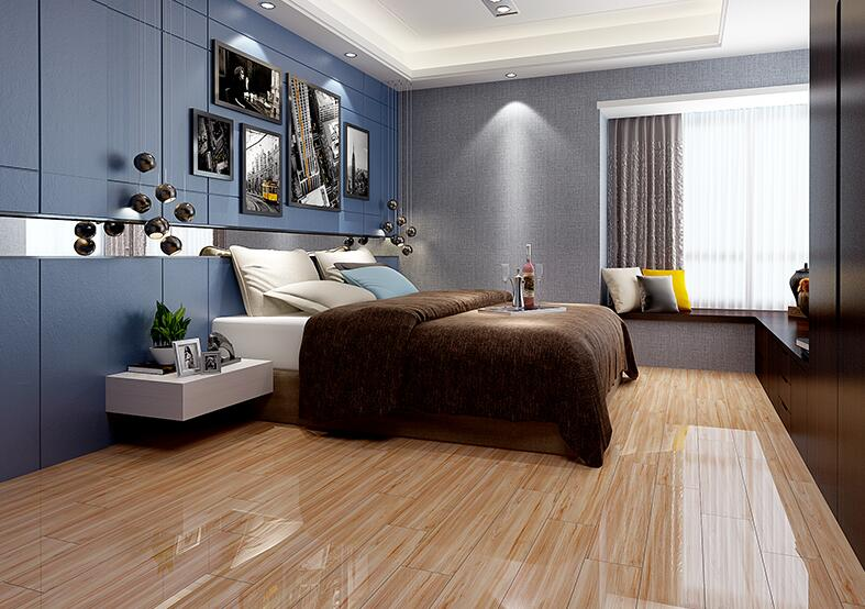 800x800mm Full Polished Glazed Brown wood looking bedroom ceramic tile