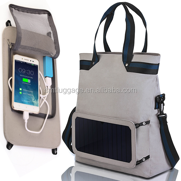 Functional foldable shopping bag with Removable Solar panel