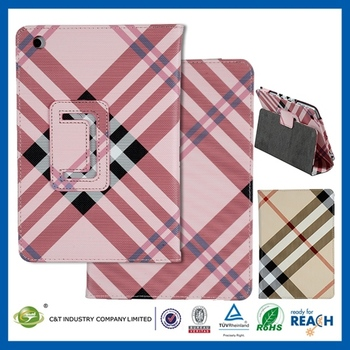 Whalesale high quality leather flip stand cover skin for ipad mini