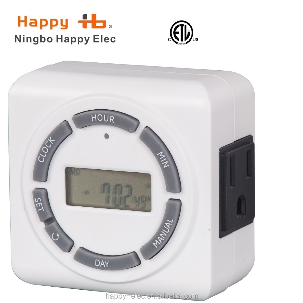 US America, 120Vac 60Hz, white, 1-outlet weekly digital timer,digital timer switch
