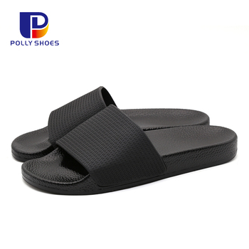 Classical Fashion Style Black Slide Sandals Blank Women Pu Slippers Shoes