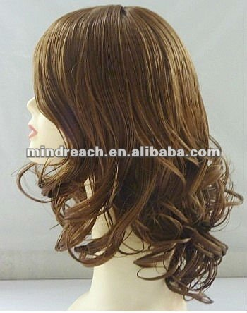 "Fashionable style 14"" 6# synthetic big body weave lace front wig in stock,accept escrow"