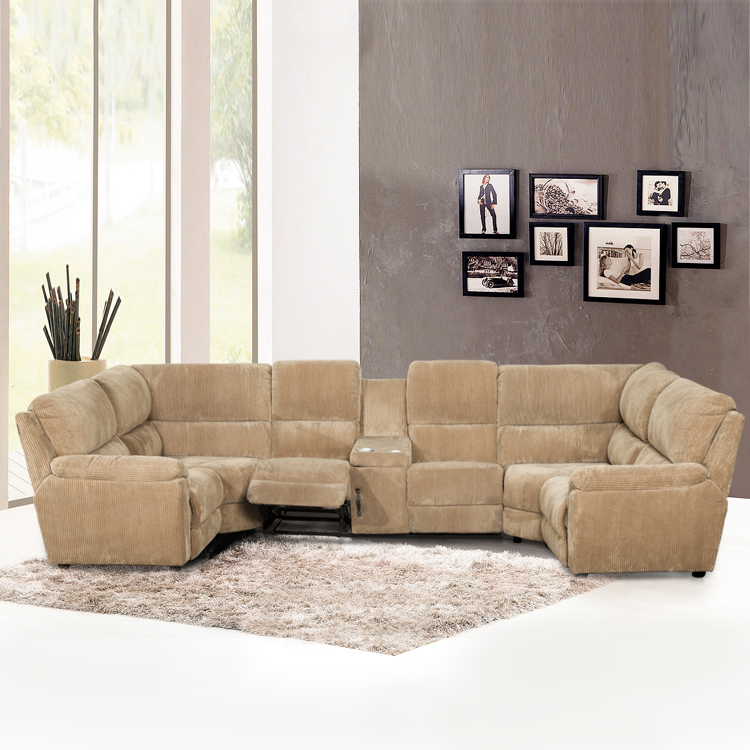 Genuine leather u shaped sectional sofa