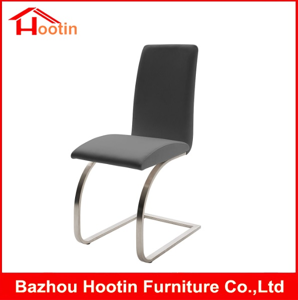 Cheap Price Quality Restaurant Chinese Wedding Simple Fashion Metal Frame Modern Banquet Black Leather Chrome Bar Stool