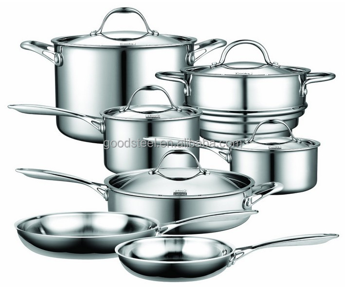 Tri-ply stainless steel cookware 18 10 surgical stainless steel cookware 12pcs stainless steel cookware set MSF-L3291