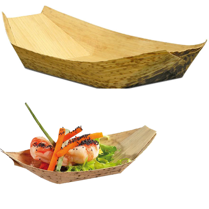 "20pcs/lot  7"" Disposable bamboo boat Shape Dishes Plates bowl wooden wood  tableware japanese sushi party,event,wedding,birthday"