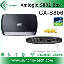 Sunchip Amlogic S802 Quad core android 4.4 tv box support bluetooth 4.0, 4K*2K, XBMC, 2G+8G dual band android 4.4 M8 tv box