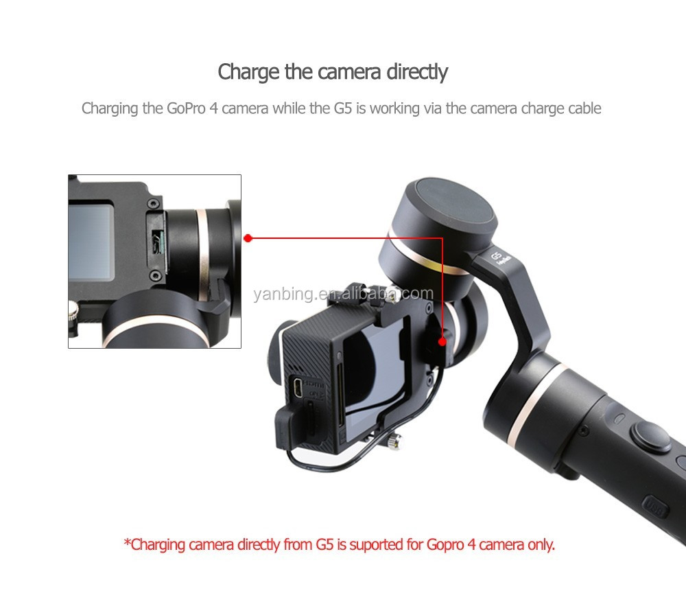 New released waterproof stabilizer Feiyu G5 3-Axis brushless handheld steadycam camera gimbal stabilizer for Go pro5 4
