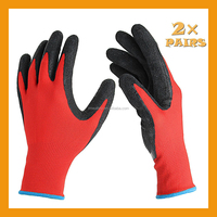 13Gauge Knitted Liner Palm Latex Coated Glove Black Latex Rubber Glove Daily Working Glove