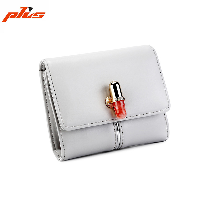 Wholesale Good Quality Colorful PU Material Short Stylish Girl Wallet
