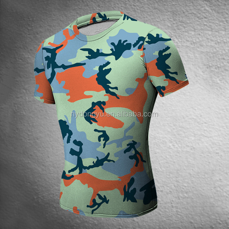 blue fast dry tight fit t shirts super sport camoflage short leeve t shirts