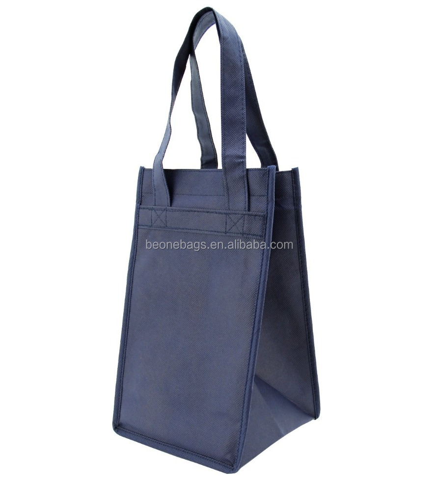 Non-Woven 4 Bottles Wine Resuable Gift Carry Bags with Inner Divider