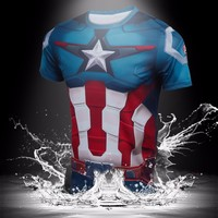 New Arrival Costume Casual Mens Quick Dry Running Superhero T Shirts
