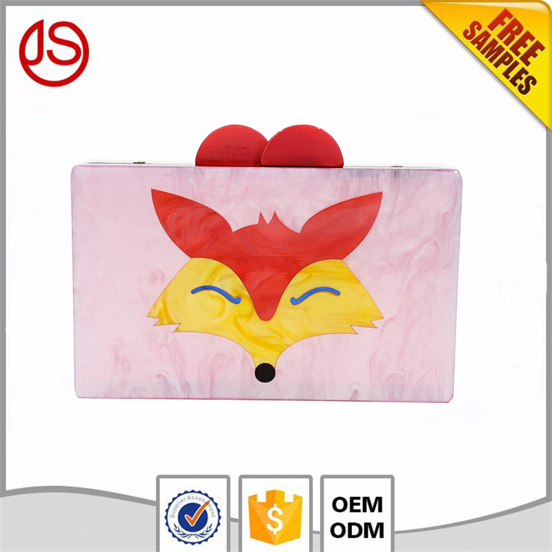 New Animal Face Design Ladies Party Purse Acrylic Box Clutch Women Shoulder Bags