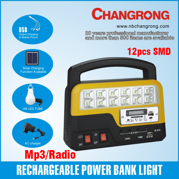 rechargeable power bank emergency light with MP3 and radio