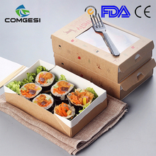 supermarket hot sale disposable paper sushi box coated paper food packaging fried chips egg tart hamburger fried chicken salad