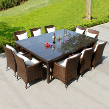 Annabelle Outdoor Garden Furniture All Weather Wicker Rattan 10 seater Dining Furniture Table & Chairs