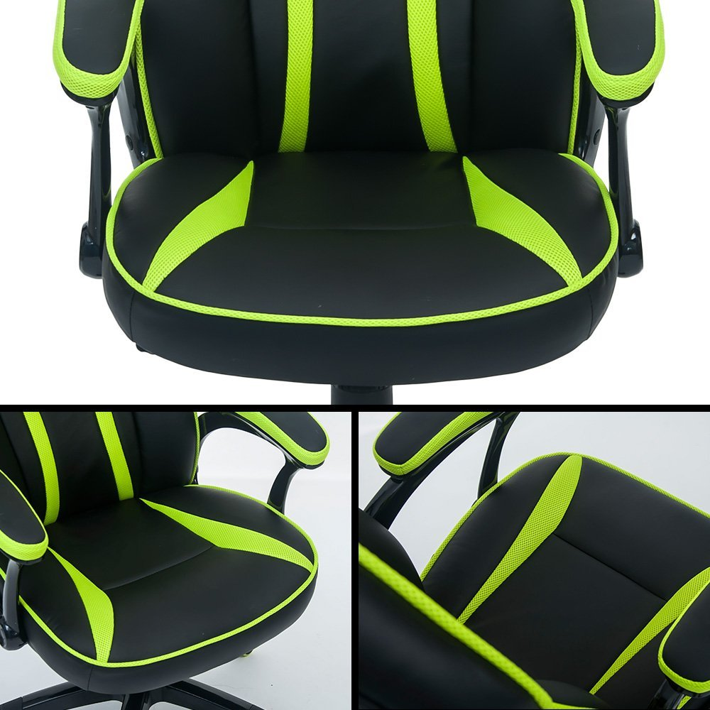 Devil's Eye Series High-Back PU Leather and Mesh Gaming Chair - Green/Black
