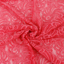 Cheap Red Flower Embroidery Lace Fabric For Evening Dress