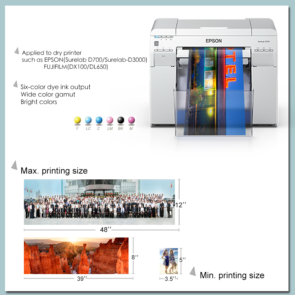 Yesion digital minilab photo paper for minilab fuji frontier 5''/6''/8''/10''12''*65m/100m glossy and satin photo paper