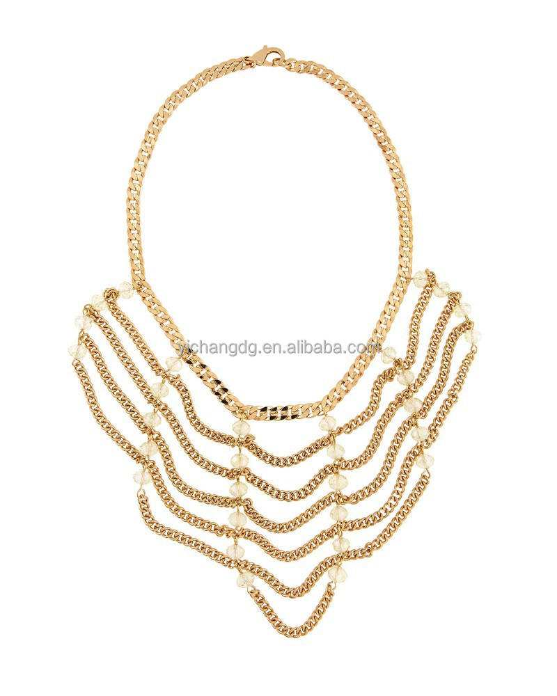 Wholesale Draped Beaded Chain Necklace Fringe Turkish Gold Chain Tassel Necklace 2015