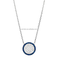 925 sterling silver jewelry micro pave AAA grade zircon circle necklace