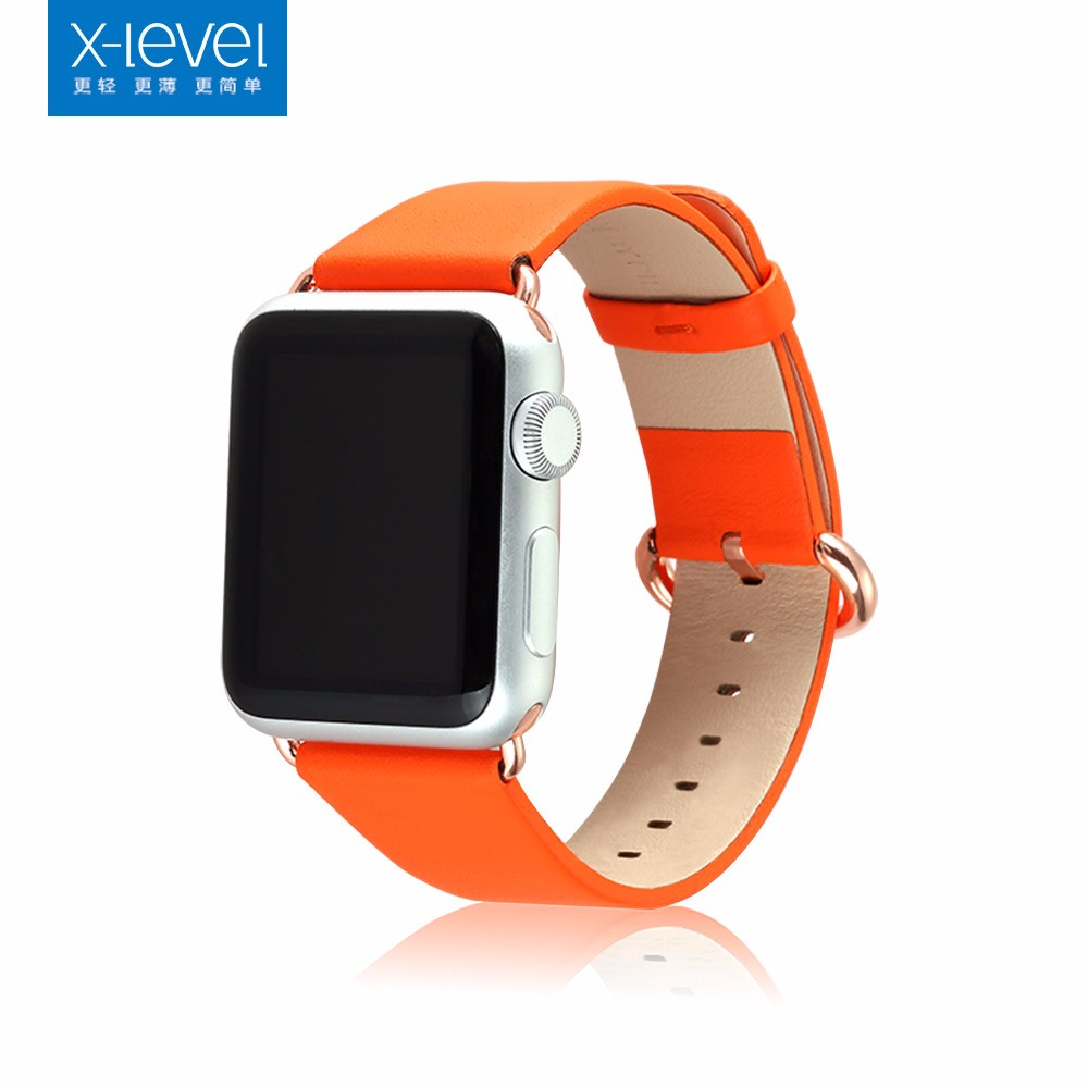 [X-Level] 2017 Top Selling Luxury Watch Band 42mm 38mm Handmade Fold Genuine Leather Wristband for Apple Watch Band Strap
