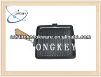 2014 Vegetable Oil Coating Cast Iron Grill Pan with Wooden Handle