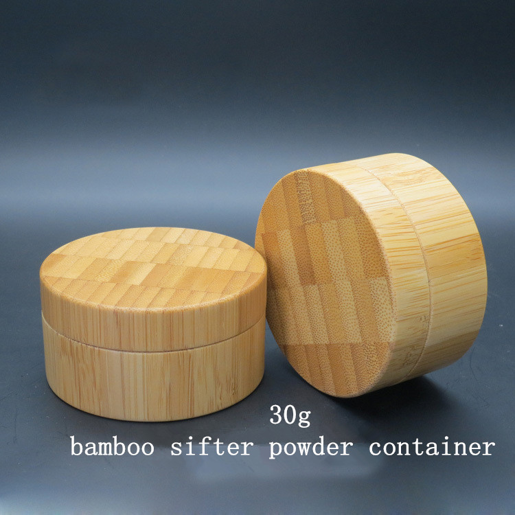 Elegant Empty Bamboo Loose Powder Case with Sifter 30g/ml High Grade DIY Bamboo Cosmetic Powder Container 1oz with Puff
