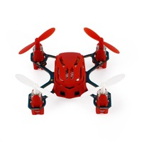 Hubsan Q4 H111 Nano 4-Channel 6-Axis Gyro Mini RC Helicopter Quadcopter with 2.4Ghz Remote Controller & LED Lights,Red