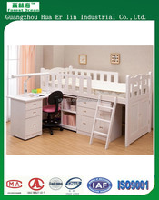 Single bed loft bed for child with desk and rack home furniture