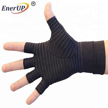 copper compression arthritis gloves spandex fingerless gloves