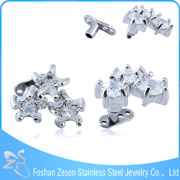 Korea Elegant Intimate Body Jewelry With Three Star Shape Zircon