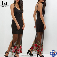 latest dress designs photos black mesh overlay floral embroidered maxi dress