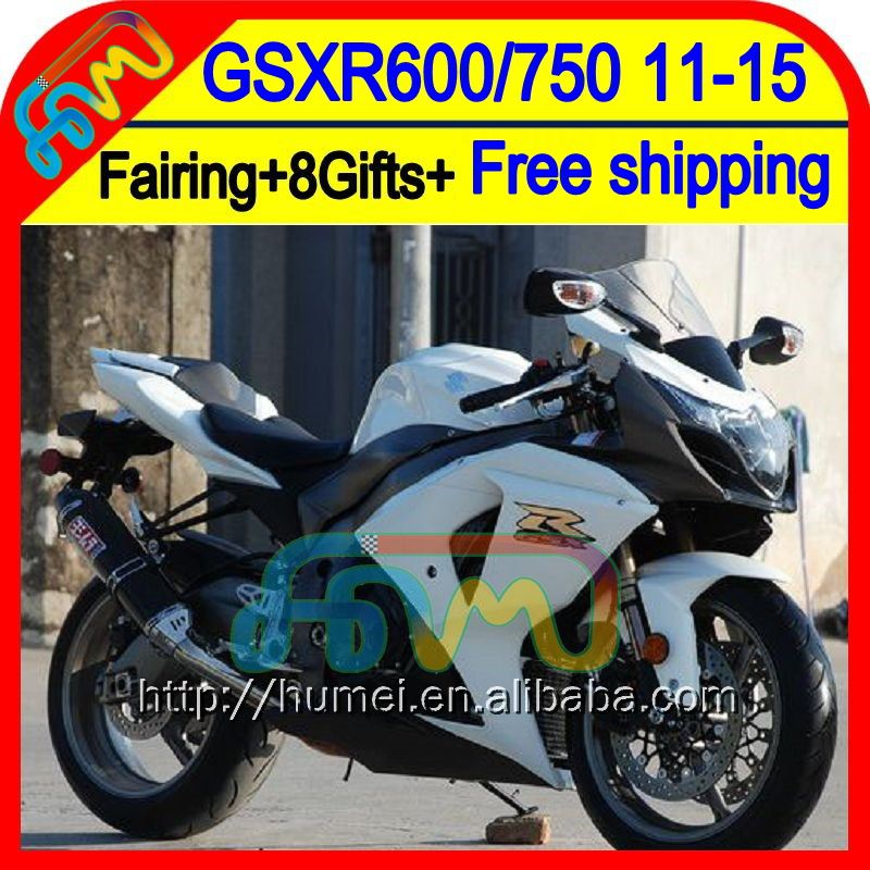 8Gifts For SUZUKI GSXR750 Black white 2011 2012 2013 2014 17HM66 GSXR 750 11 12 13 14 GSX R750 <strong>K11</strong> Gloss white GSX-R750 Fairing