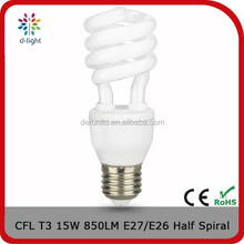 Half spiral T3 850lm 15w incandescent 80w E27 CFL energy saving light bulb