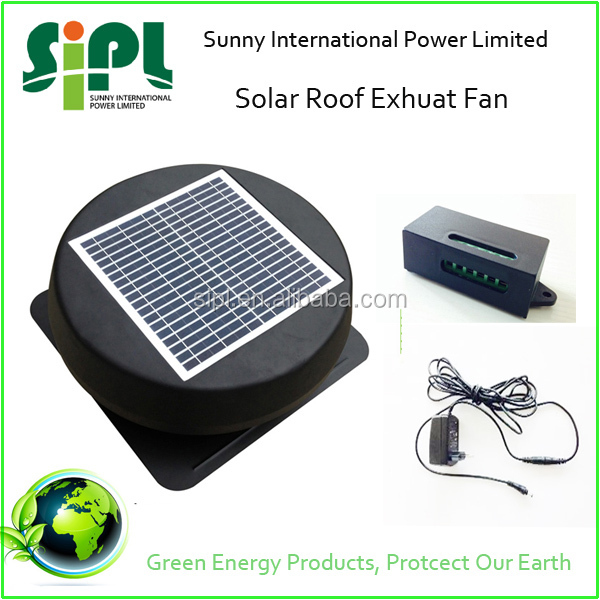wholesale china goods! Round 12 inch Solar Auto Fresh Air Handling Units Loft Fan with AC adapter
