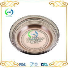 Hot Copper flower plate/grape stamp tray/ stainless steel round tray