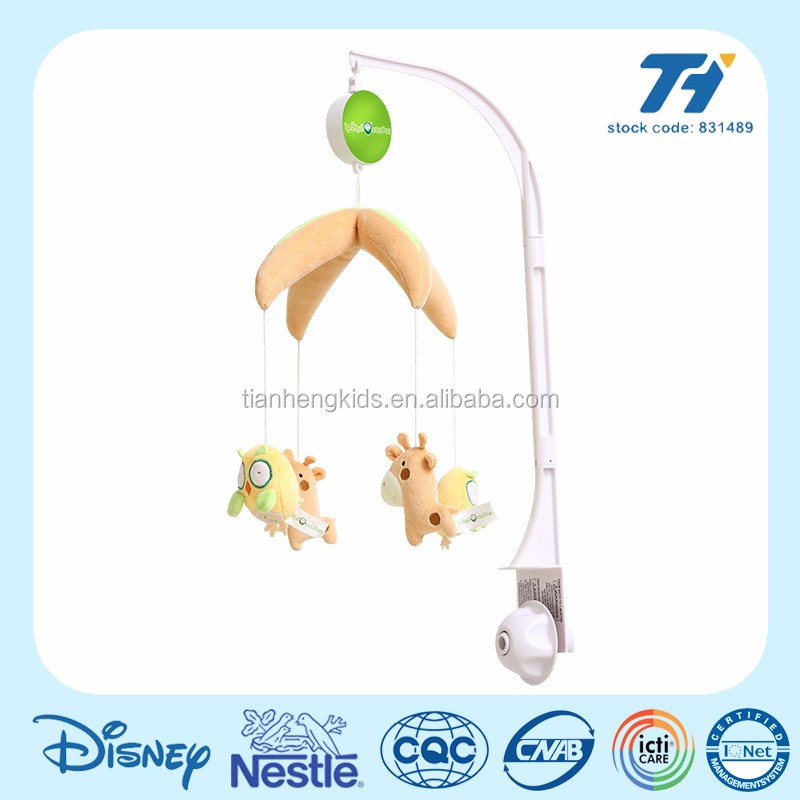 Rotating electric plastic baby musical mobile with animal soft toy