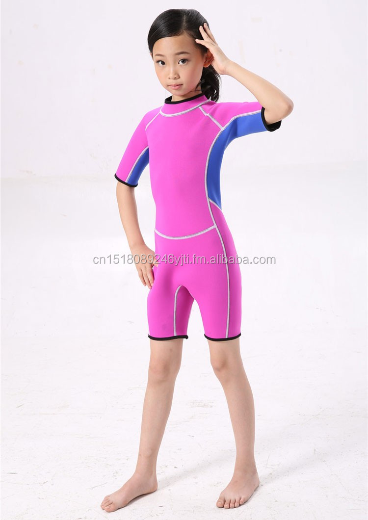 kids wetsuits short leg scuba dive swimming suit pink blue (12).jpg
