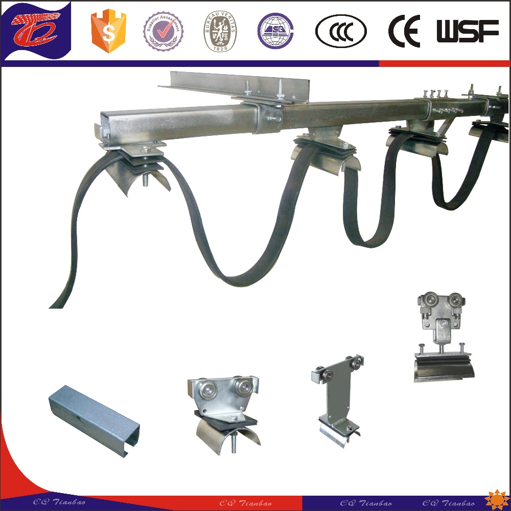 Safety and high bearing capacity electrical cable trolley C rail festoon system