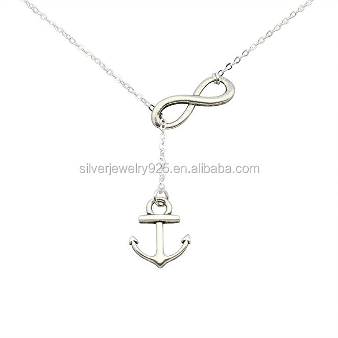 925 sterling silver jewelry Handmade Anchor and Infinity Lariat Y Necklace 18inches