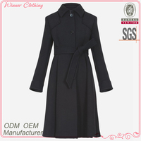 viscose/wool winter coat trench design piping sleeve ladies maxi coat with self belt